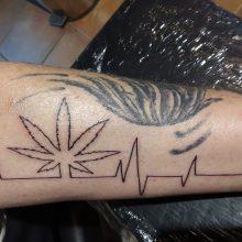 Marihuana Hearthbeat Tattoo